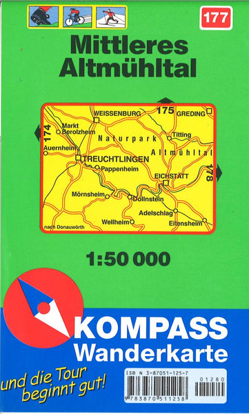 Cover of Altmuhltal, Mittleres Wanderkarte Hiking Map By Kompass