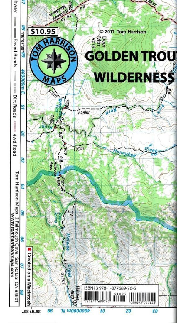 Cover of folded Map of Golden Trout Wilderness by Tom Harrison Maps