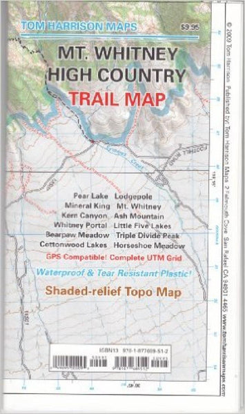 Cover of folded Map of Mount Whitney High Country Trail Map by Tom Harrison Maps