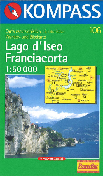 Cover of Lago d'Iseo Franciacorta Hiking Map By Kompass