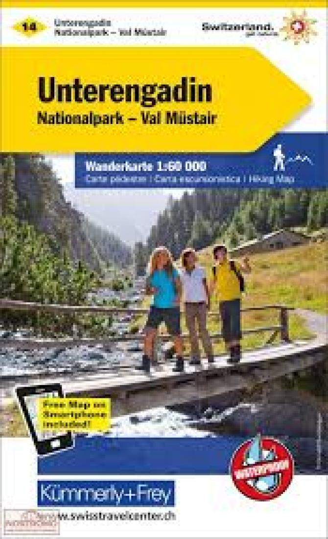 Cover of Unterengadin : Switzerland Hiking Map #14 by Kummerly + Frey