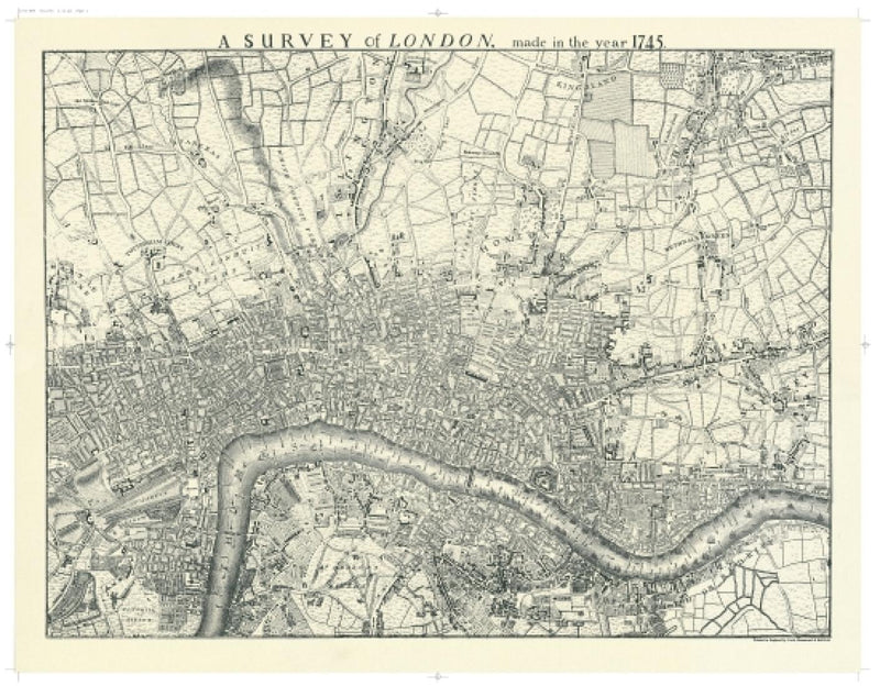 Cover of Historic Map of London in 1745 Black and White by Oxford Cartographers