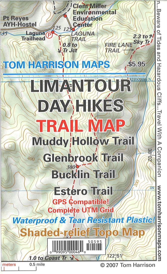 Cover of folded Map of Limantour Day Hikes Trail Map by Tom Harrison Maps