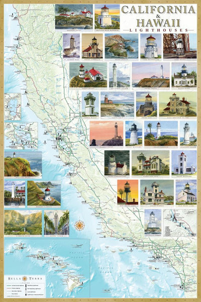 Cover of California and Hawaii Lighthouses Map, Laminated Poster