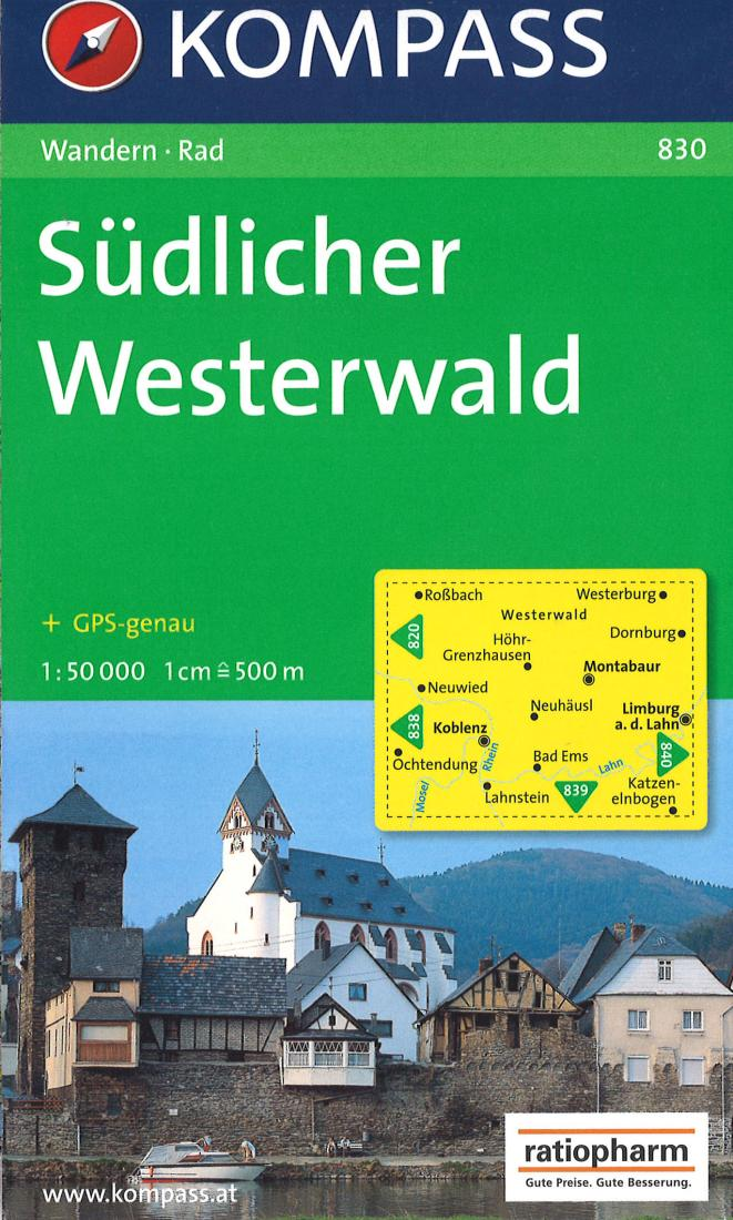 Cover of Southern Westerwald Hiking Map By Kompass
