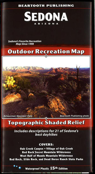Cover of Sedona, Arizona  Outdoor Recreation Map with Topographic Shaded Relief by Beartooth Publishing