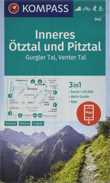 Cover of Inneres Otztal - Pitztal - Kaunertal Hiking Map By Kompass