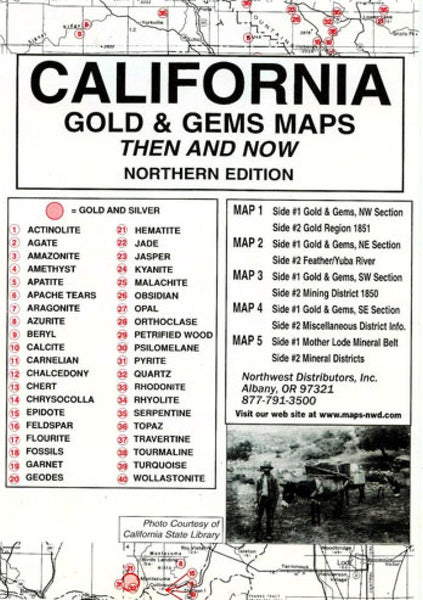 Cover of California, North, Gold and Gems, 5 Map Set, Then and Now