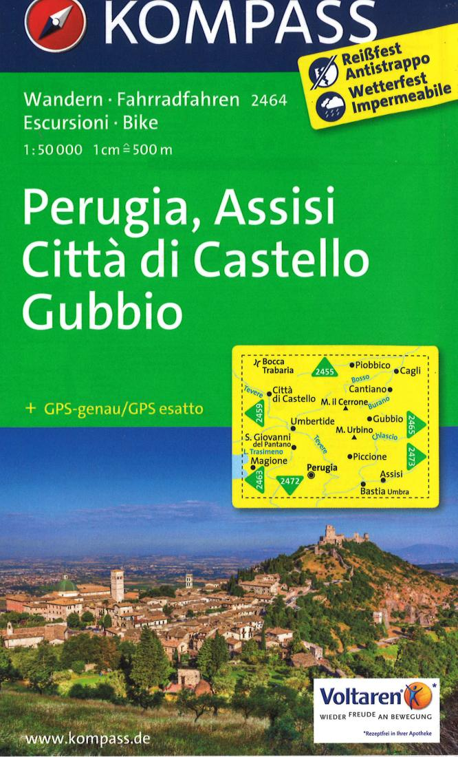 Cover of Perugia, Assisi, Citta di Castello Gubbio Hiking Map By Kompass