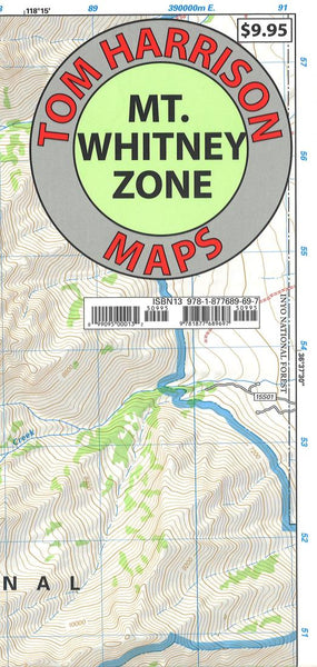 Cover of folded Map of Mount Whitney Zone, California by Tom Harrison Maps