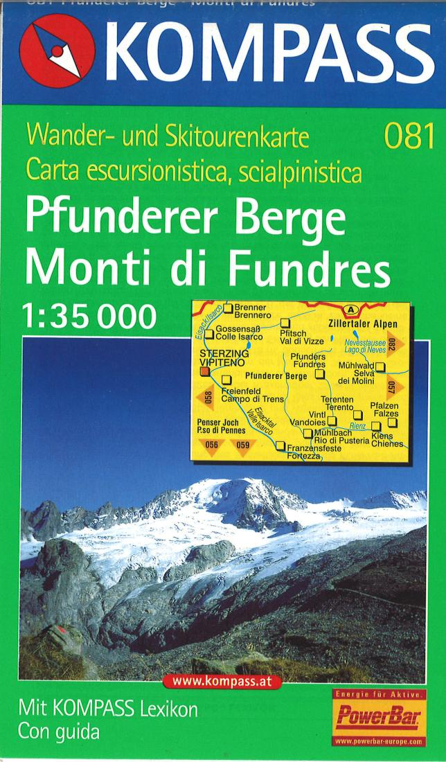 Cover of Pfunderer Berge/Monti Di Fundres Hiking Map By Kompass