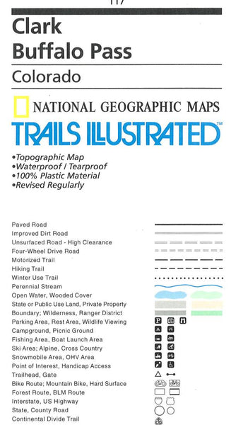 Clark Buffalo Pass Trail Map by National Geographic