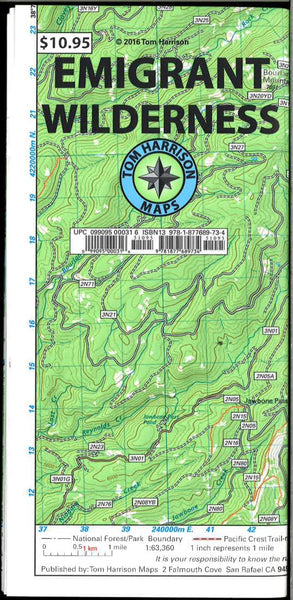 Cover of folded Map of Emigrant Wilderness Trail Map by Tom Harrison Maps