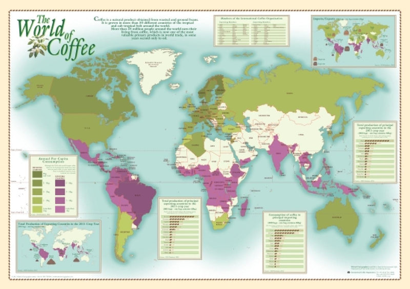 Cover of World of Coffee Wall Map by Oxford Cartographers