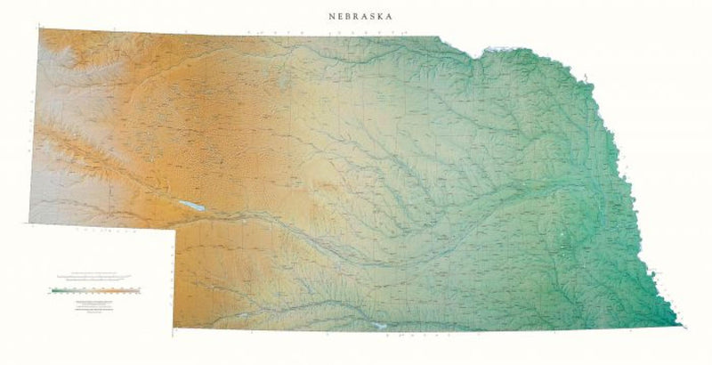 Cover of Nebraska Physical Wall Map by Raven Maps