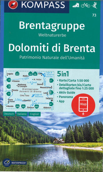 Cover of Brenta Group 5 in1 Hiking Map By Kompass