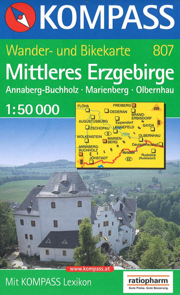 Cover of Mittleres Erzgebirge Hiking Map By Kompass