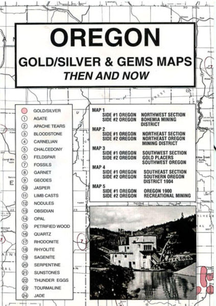 Oregon, Gold and Gems, 5-Map Set, Then and Now