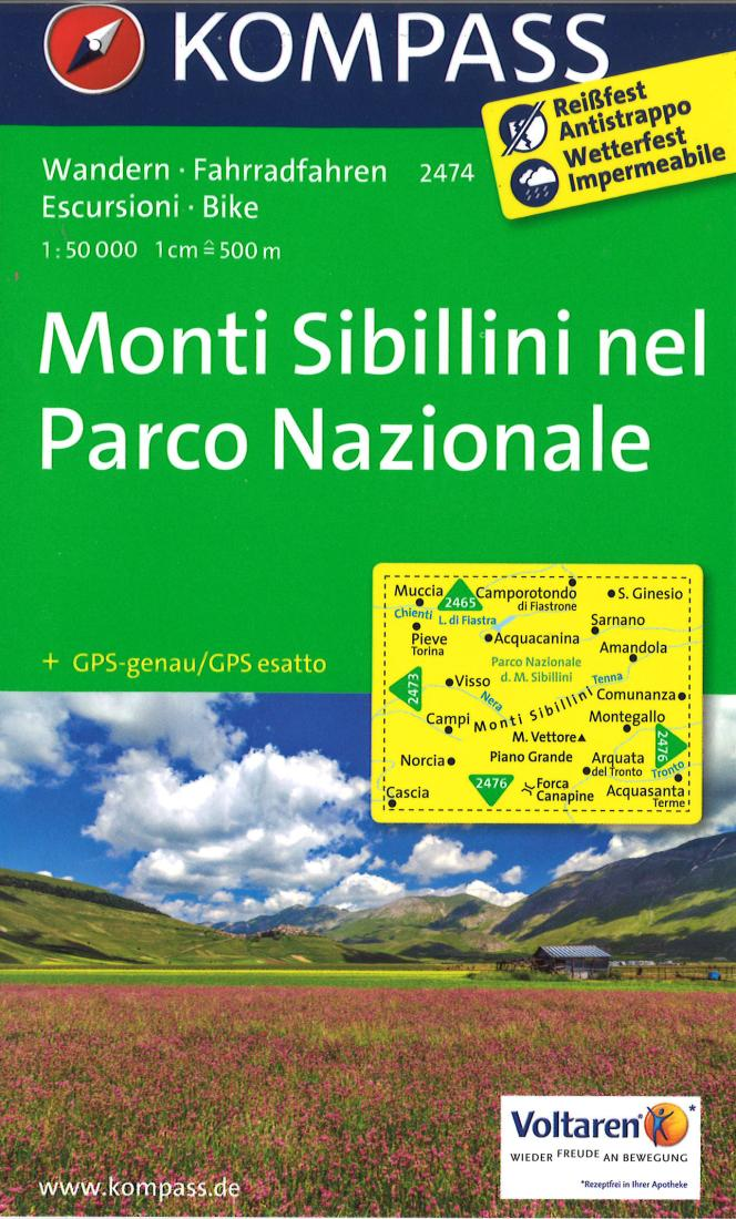 Cover of Monti Sibillini - Cascia - Norcia Hiking Map By Kompass
