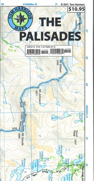 Cover of folded Map of Palisades, California trail map by Tom Harrison Maps