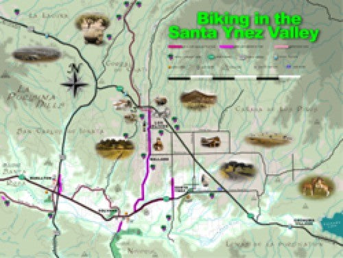 Biking in the Santa Ynez Valley Wall Map