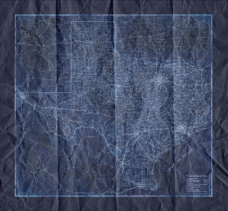 Texas Blueprint Style Crumpled Wall Map