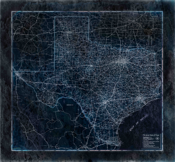 Blueprint Style Texas Wall Map