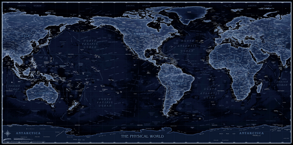 Blueprint Style World Physical USA-Centered Wall Map