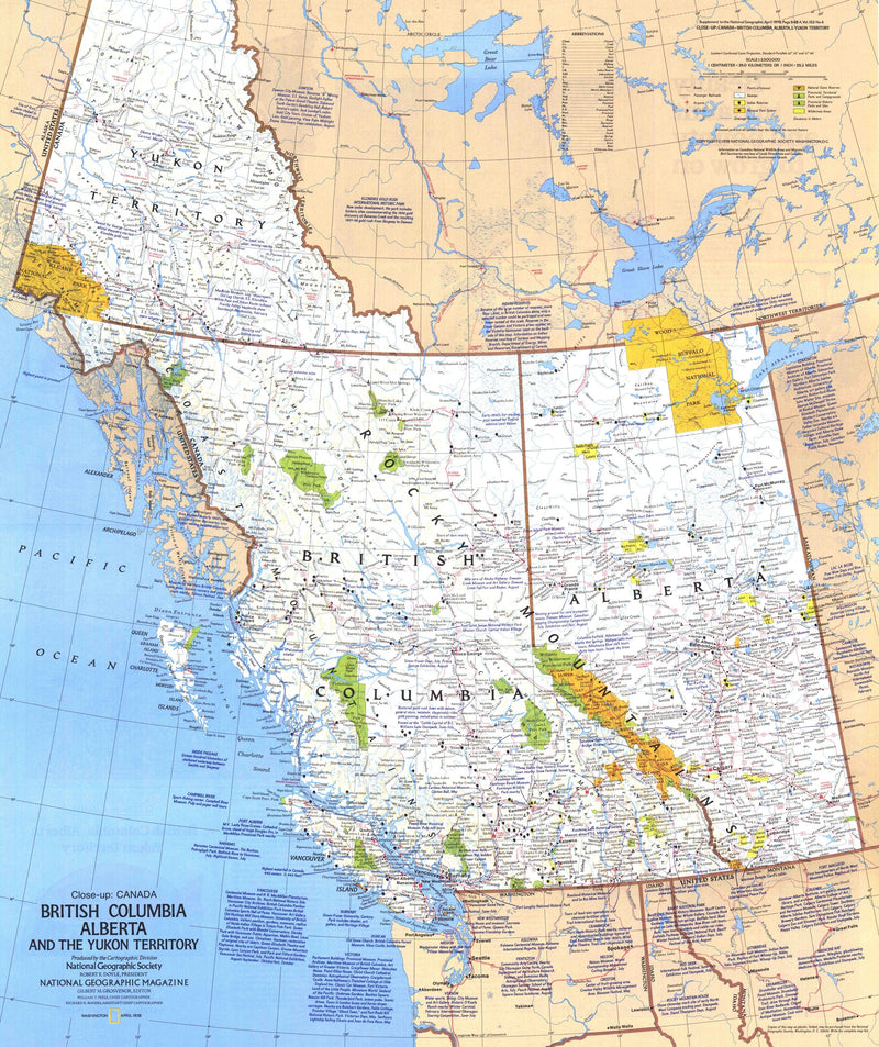 British Columbia, Alberta And The Yukon Territory Map Side 1