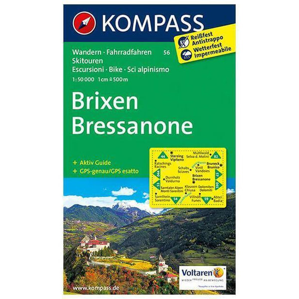 Cover of Brixen / Bressanone Hiking Map By Kompass