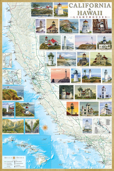 California & Hawaii Lighthouses Map - Laminated Poster