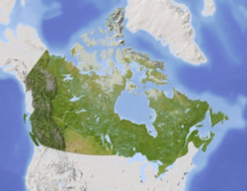 Canada Shaded Relief Wall Map by Arid Ocean