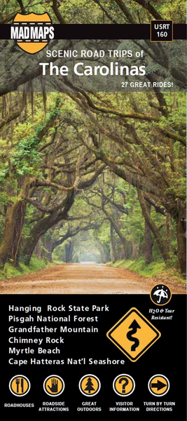 Scenic Road Trips Map of The Carolinas