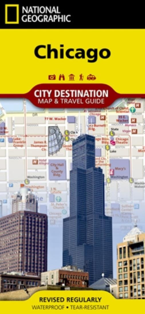 Chicago, Illinois City Destination Map and Travel Guide by National Geographic Maps