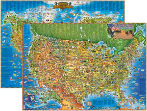 Children's USA and World Wall Map Set