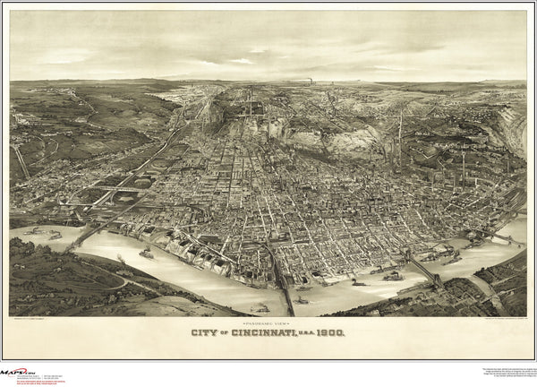 Cincinnati Antique Wall Map