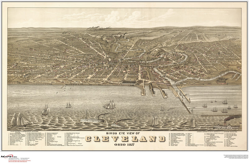 Cleveland Antique Wall Map