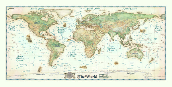 Colorful Antique Ivory World Europe Centered