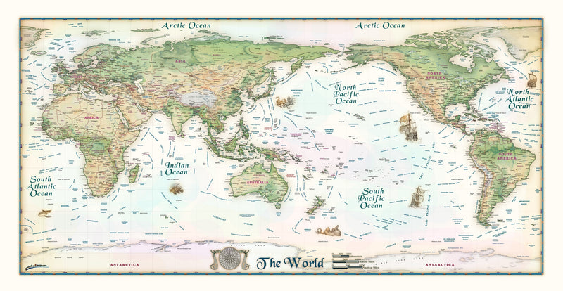 Colorful Antique Ivory World Map Pacific Centered