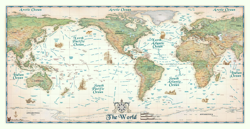 Colorful Antique Ivory World USA Centered