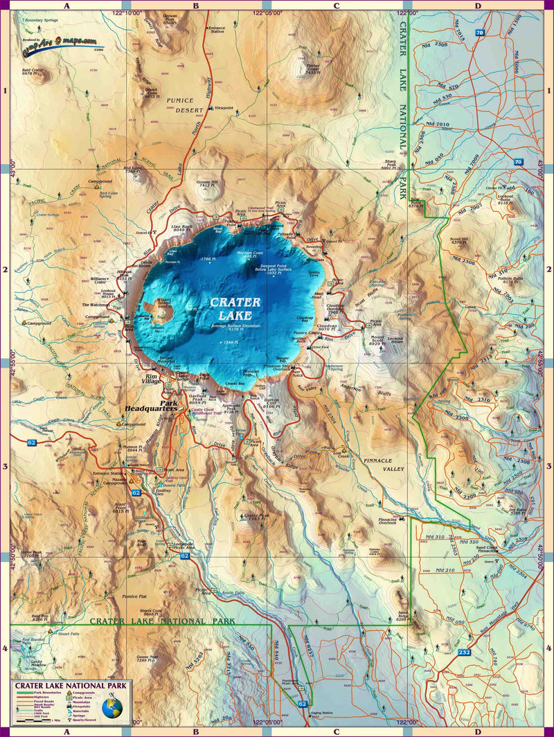 Crater Lake National Park Wall Map