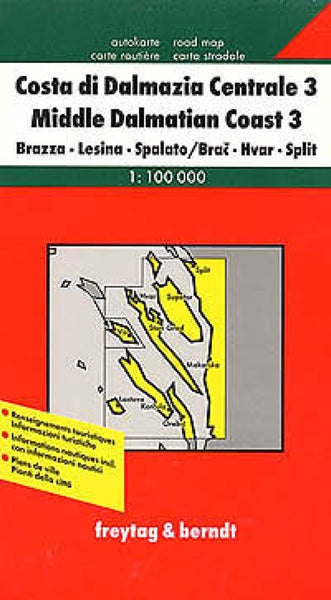 Croatia Coast, Middle Dalmatia, Brazza, Lesina, Spalato Travel Map