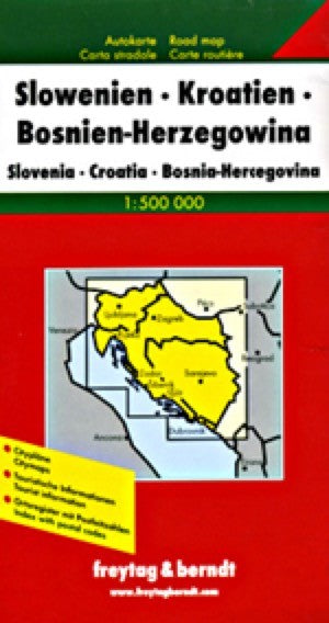 Croatia, Slovenia and Bosnia Herzegovina Travel Map