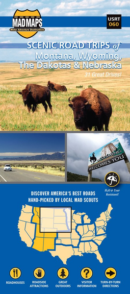 Dakotas, Eastern Montana, Eastern Wyoming, Northwest Nebraska, Regional Scenic Tours by MAD Maps