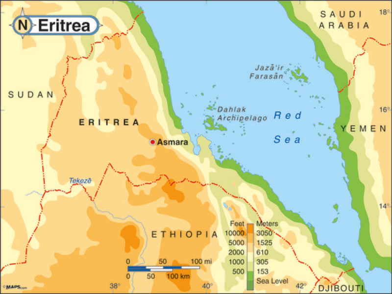 Eritrea Wall Map by Maps.com