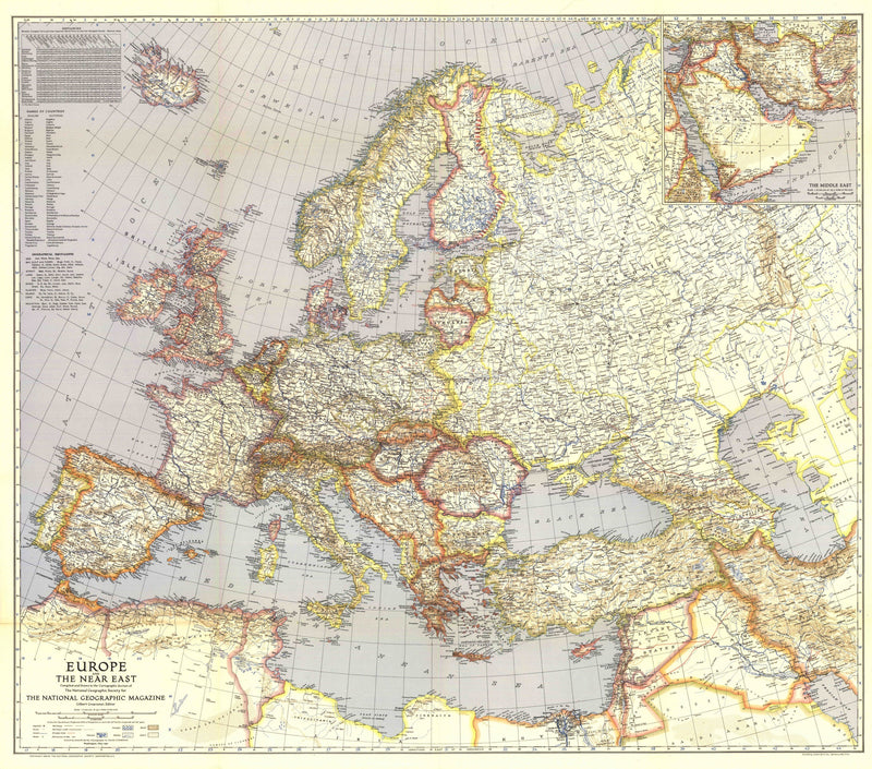 Europe And The Near East Map 1940