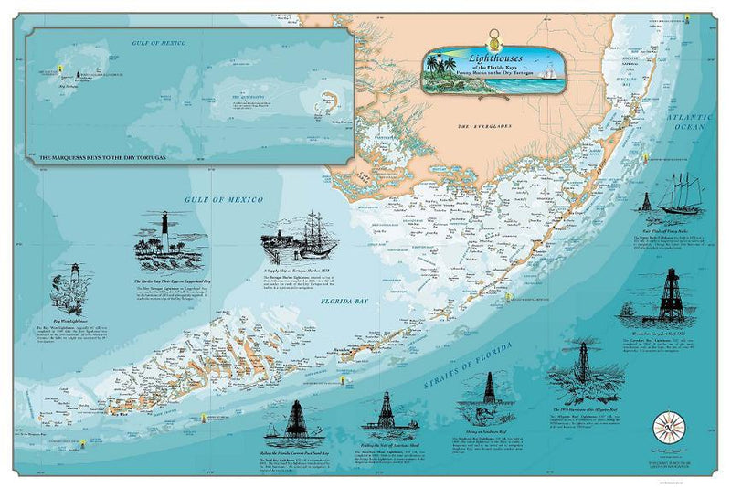 Cover of Florida Keys Lighthouse Map (Laminated)