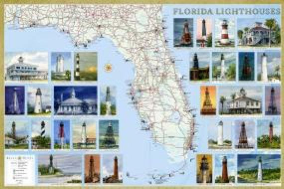 Florida Lighthouses Map - Laminated Poster