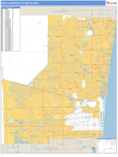 Fort Lauderdale, Florida Metro Area Wall Map