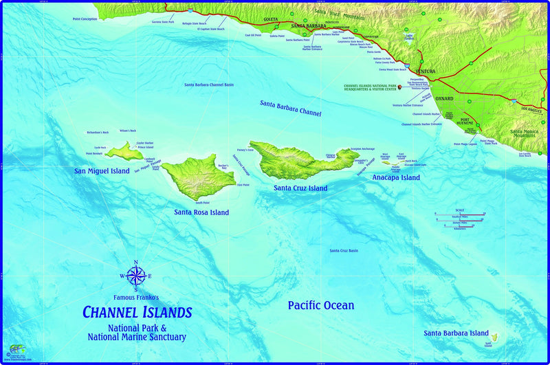Channel Islands National Park, California Wall Map